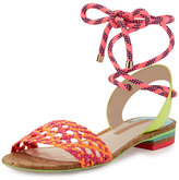 Sophia Webster Nia Woven Ankle-Wrap Sandal, Fluorescent Orange/Magenta