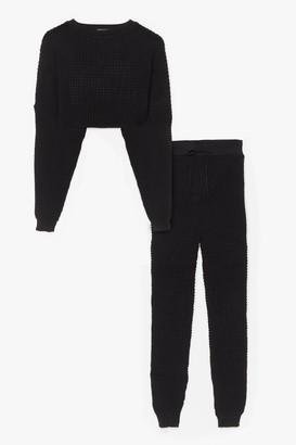 Nasty Gal Womens Knit Wasn't Me Joggers Lounge Set - Black - S