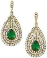 Effy Final Call by EFFYandreg; Emerald (1-1/8 ct. t.w.) and Diamond (1-3/8 ct. t.w.) Teardrop Drop Earrings in 14k Gold