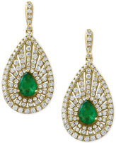 Effy Final Call by Emerald (1-1/8 ct. t.w.) & Diamond (1-3/8 ct. t.w.) Teardrop Drop Earrings in 14k Gold