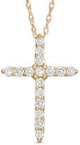 Zales 1/4 CT. T.W. Diamond Cross Pendant in 14K Gold