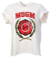MSGM Printed Short Sleeves Ivory Cotton Sweater