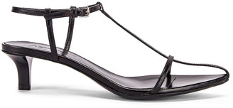 Jil Sander Leather Kitten Heel Sandals in Black | FWRD