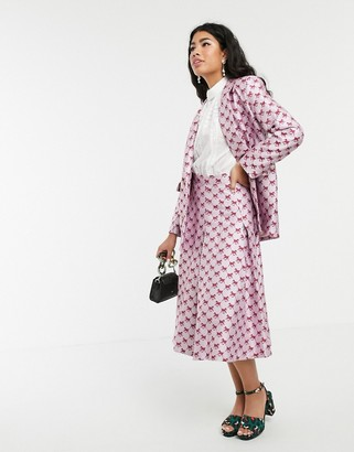 Sister Jane pleated midi skirt in horse monogram jacquard co-ord-Pink