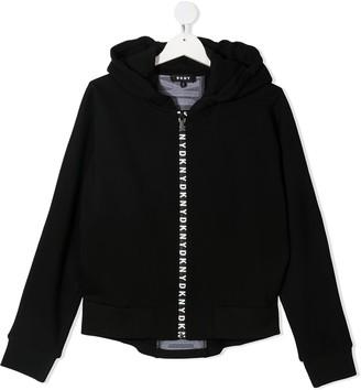 DKNY TEEN logo-print zipped hoodie