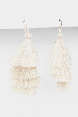 francesca's Neva Layered Tassel Earrings in White - White