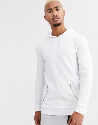 Asos DESIGN muscle hoodie with silver zip pockets in white