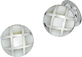 Jan Leslie Sterling Silver & Mother-of-pearl Caged Dome Cufflinks