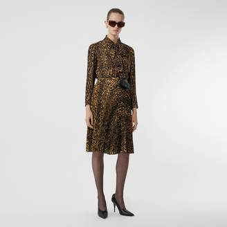 Burberry Leopard Print Silk Chiffon Pussy-bow Blouse