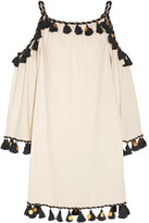Rachel Zoe Off-the-shoulder Embellished Silk-noil Mini Dress - Ivory