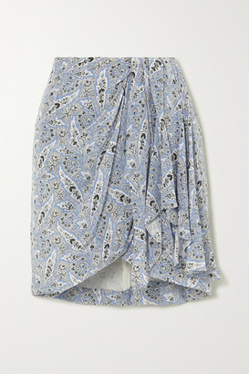 Isabel Marant Ixori Draped Paisley-print Silk Crepe De Chine Mini Skirt - Light blue