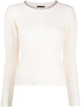 Liu Jo Ribbed-Knit Jumper With Crystal Embellished Neckline