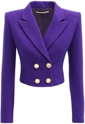 Alessandra Rich Wool Blend Tweed Crop Jacket