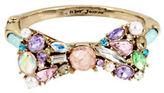 Betsey Johnson Multicolor Stone Bow & Pearl Hinged Bangle