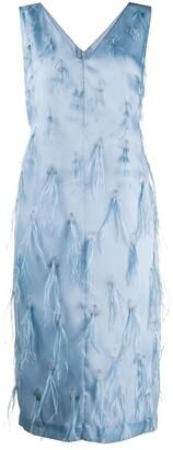 Emilio Pucci Feather Embroidery Midi Dress