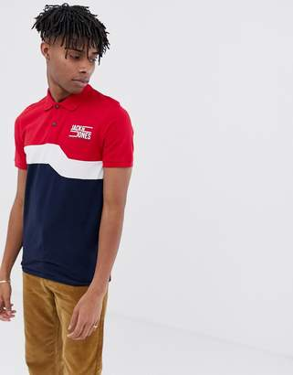Jack and Jones Core colour block polo shirt in slim fit-Navy