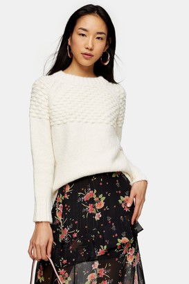 Topshop Ivory Bobble Knitted Sweater
