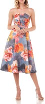 Thumbnail for your product : Kay Unger New York Lea Floral Mikado Strapless Midi Dress