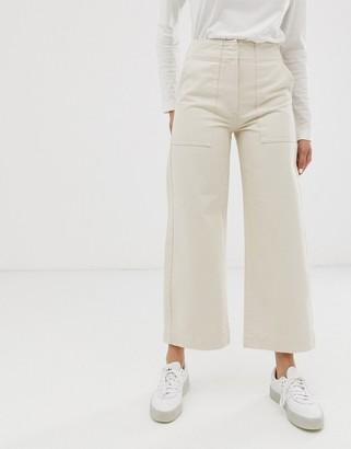 ASOS DESIGN Cropped wide leg carpenter jeans with contrast stitch in ecru