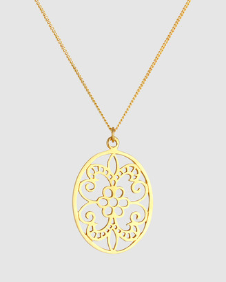 Elli Jewelry Necklace Floral Ornament Pendant in 925 Sterling Silver gold plated