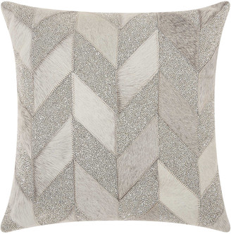 Nourison Mina Victory Couture Natural Hide Shimmer Chevron Throw Pillow