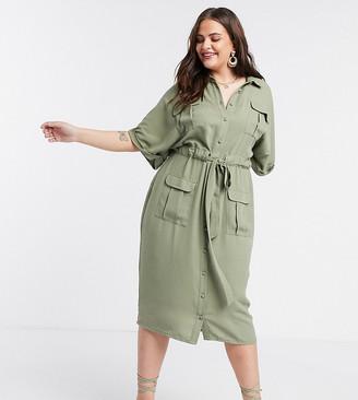 Asos DESIGN Curve linen utility button through shirt midi dress with drawstring waist in khaki