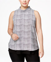 Alfani Plus Size Printed Mock-Turtleneck Top, Only at Macy's