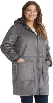 Women's Weathercast Hooded Heavyweight Faux Shearling Walker Jacket