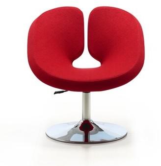 "Wade Logan Paco 27.6"" W Swivel Papasan Chair Fabric: Red Cotton Blend"