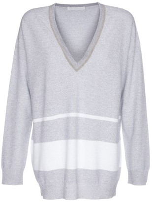 Fabiana Filippi Lurex Stripe V-Neck Sweater