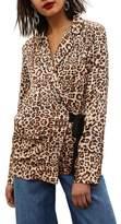 Topshop Animal Print Wrap Pajama Tie Front Shirt