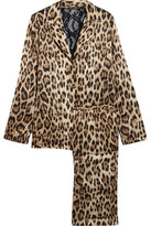 Roberto Cavalli Lace-Paneled Leopard-Print Satin Pajama Set