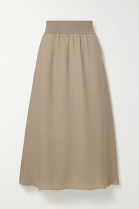 Theory Stretch Jersey-trimmed Silk-crepe Midi Skirt - Beige
