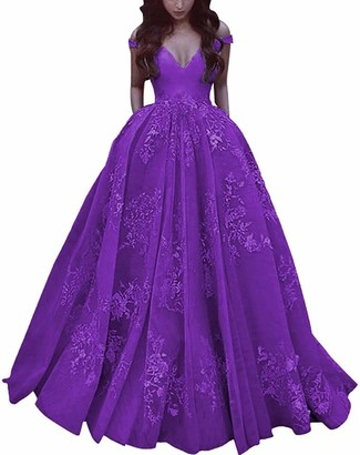 LYDIAGS Elegant Lace Long Satin Prom Dress Off The Shoulder Gowns with Pockets (Purple UK 24)