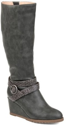 Brinley Co. Womens Comfort Wide Calf Braid Strap Wedge Boot