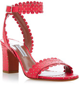Tabitha Simmons Leticia Perforated-Leather Sandals in Coral