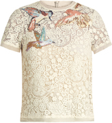 RED Valentino Bird-embroidered macramé lace top