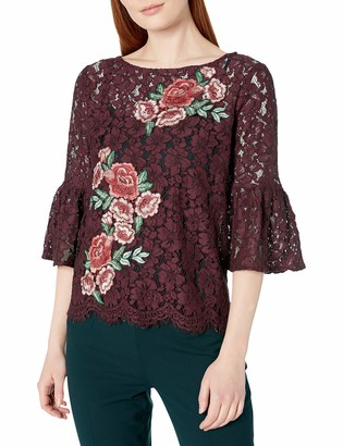 Karen Kane Women's Lace Embellished Bell Sleeve Top