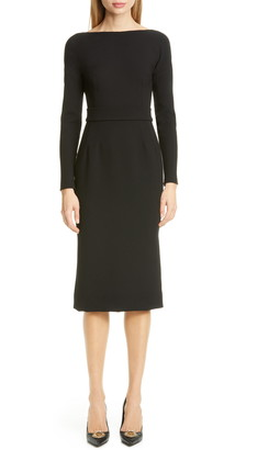 Dolce & Gabbana Bow Back Long Sleeve Wool Blend Crepe Dress