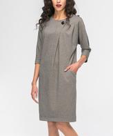 JET Gray Button-Detail Shift Dress