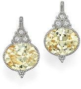 Judith Ripka Sterling Silver La Petite Oval Earrings with White Sapphire and Canary Crystal