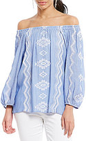 Gibson & Latimer Off-the-Shoulder Embroidered Peasant Blouse