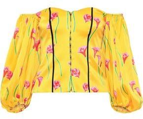 Caroline Constas Belen Off-the-shoulder Floral-print Stretch-cotton Sateen Top