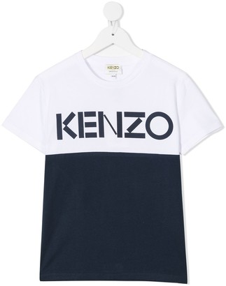 Kenzo Kids Block Colour Logo Cotton T-Shirt