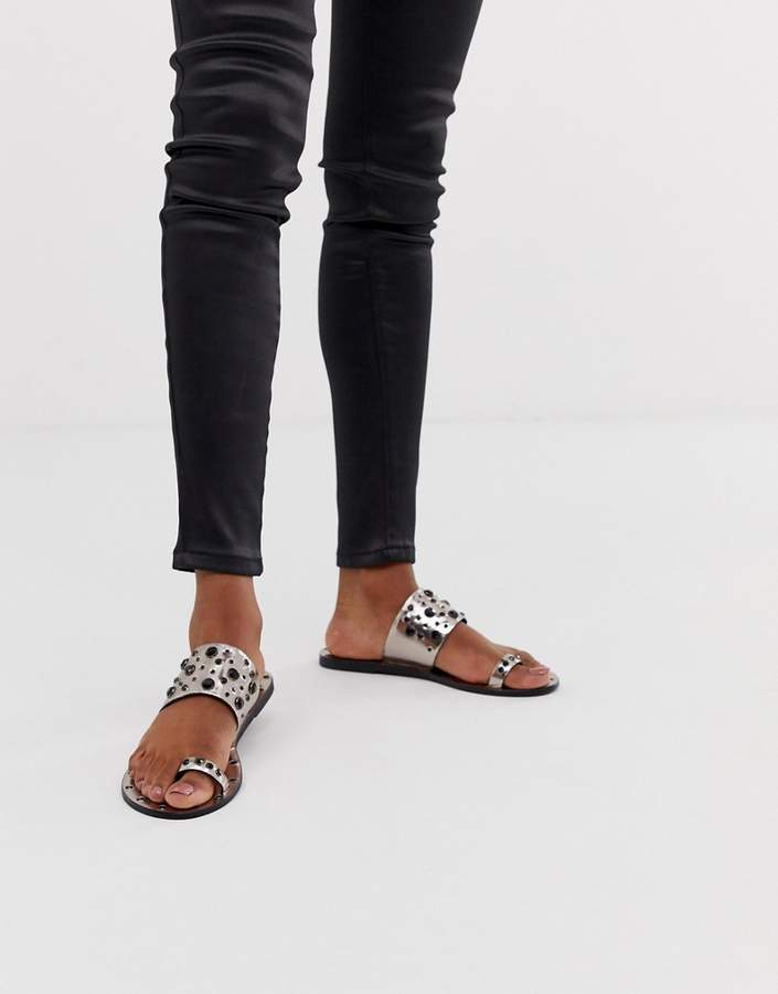 Asos Design DESIGN Fanciful premium leather embellished top loop mules