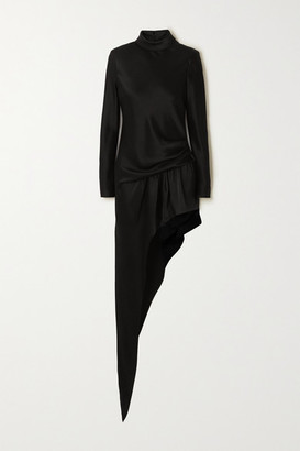 Alexander Wang Asymmetric Gathered Satin Turtleneck Mini Dress - Black
