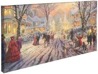 "Thomas Laboratories Kinkade A Victorian Christmas Carol Gallery Wrapped Canvas, 16""x31"""