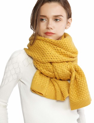 RIIQIICHY Chunky Knit Scarfs for Women Thick Cable Shawls Wrap Winter Soft Warm Long Large Solid Color Pashminas Stole - yellow - Long