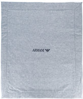 Armani Junior logo embroidered blanket - kids - Cotton/Linen/Flax - One Size