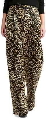 Tom Ford Leopard Print Pants w/ Leather Tie